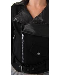 Donna Karan New York | Black Felt Leather Jacket | Lyst