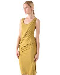 Donna Karan New York | Yellow Draped Foundation Dress | Lyst