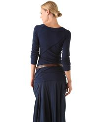 Donna Karan New York | Blue Long Sleeve Patchwork Tee | Lyst