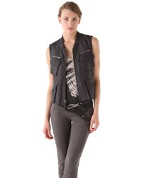 Donna Karan | Black Zip Leather Vest | Lyst