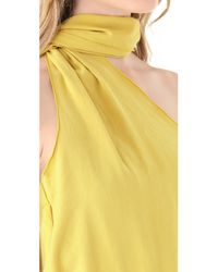 Halston - Yellow One Shoulder Sash Top - Lyst