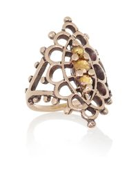 Laurent Gandini Metallic Anello Navette 9karat Rose Gold Diamond Ring