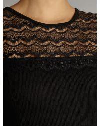 Pussycat - Black Lace Textured Skater Dress - Lyst