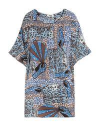 Acne | Blue Midra Printed Silk-chiffon Dress | Lyst