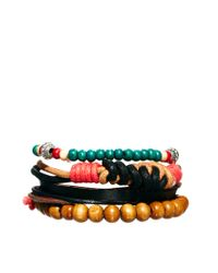 ASOS | Brown Asos Bright Bead and String Bracelet for Men | Lyst