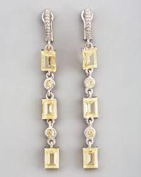 Judith Ripka - Yellow Triple Baguette Drop Earrings Canary - Lyst