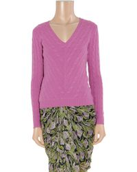 Ralph Lauren Black Label - Pink V-neck Cashmere Sweater - Lyst