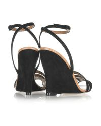 Valentino - Black Suede and Mesh Peep-toe Wedge Sandals - Lyst