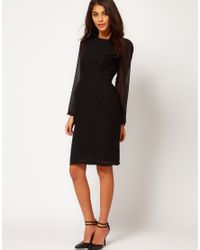 ASOS Collection | Black Asos Pencil Dress with Ruched Side Panels and Lace Cuff Detail | Lyst