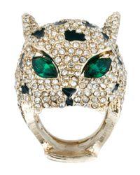 River Island - Metallic Mega Diamante Panther Ring - Lyst