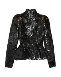 Alexander McQueen - Black Lasercut Patent Leather and Lace Jacket - Lyst