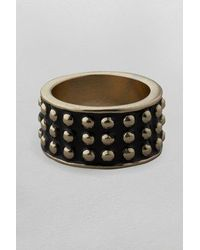 French Connection - Black Stud Enamel Ring - Lyst