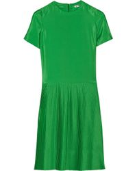 Jil Sander - Green Lumen Pleated Crepe Dress - Lyst