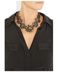 Oscar de la Renta | Metallic Embellished Floral Necklace | Lyst