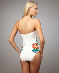 Tory Burch - White Wildflower-print Bandeau Swimsuit - Lyst