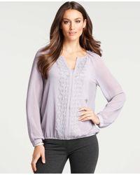 Ann Taylor | Purple Petite Lace Placket Blouse | Lyst