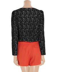 MILLY - Black Dorsay Floral Lace Jacket - Lyst