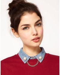 ASOS - Metallic Pearl Chain Collar Tips - Lyst