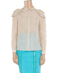 Burberry Prorsum - Natural Silk And Cotton-Organza Blouse - Lyst