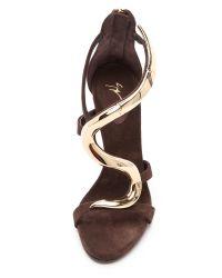 Giuseppe Zanotti | Brown Alien Hinged Sandals | Lyst