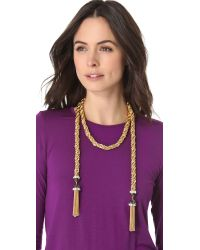 Rachel Zoe | Metallic Long Tassel Necklace | Lyst