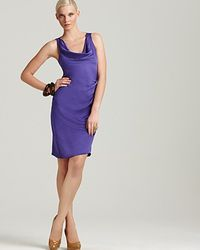 Theory   Purple Playara Draped Silk-satin Dress   Lyst