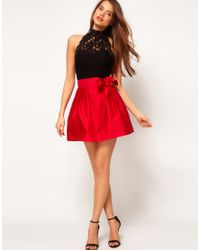 ASOS Collection - Red Skater Skirt with Bow - Lyst