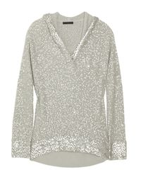 Donna Karan | Gray Sequined Cashmere and Silk-blend Sweater | Lyst