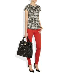 MICHAEL Michael Kors - Black Hamilton Studded Quilted Leather Tote - Lyst