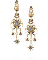Percossi Papi - Metallic 24karat Goldplated Sapphire Rhodolite and Pearl Earrings - Lyst