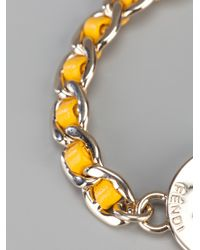 Fendi - Metallic Lock and Key Bracelet - Lyst