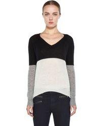 Enza Costa   Cashmere Colorblock V Neck Sweater in Black Grey Bleach   Lyst