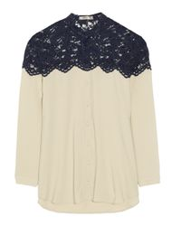 Erdem | Natural Casey Collarless Lace Blouse | Lyst