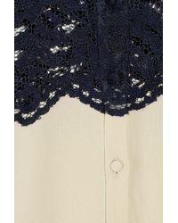 Erdem | Blue Casey Collarless Lace Blouse | Lyst