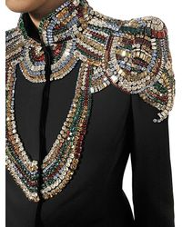 Alexander McQueen | Black Jewelled Leaf Viscose Crepe Jacket | Lyst