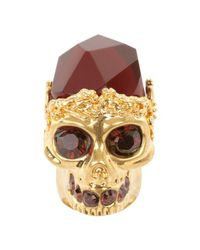 Alexander McQueen | Metallic Skull Cocktail Ring | Lyst