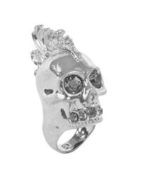 Alexander McQueen - Metallic Baroque Punk Skull Cocktail Ring - Lyst