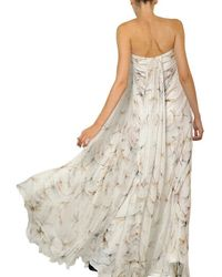Alexander McQueen | Natural Dragon Fly Print Silk Chiffon Long Dress | Lyst