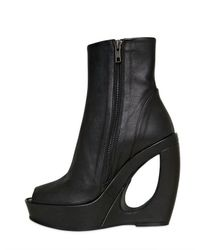 Ann Demeulemeester   Black Hammered Leather Wedges   Lyst