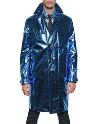 Burberry Prorsum   Blue Metallic Paper Silk Oversize Trench Coat for Men   Lyst