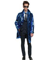 Burberry Prorsum | Blue Metallic Paper Silk Oversize Trench Coat for Men | Lyst