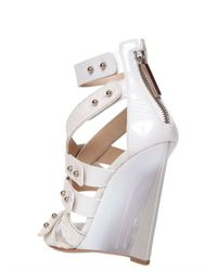 Casadei White 120mm Ayers Glossy Patent Blade Wedges