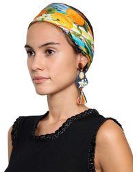 Dolce & Gabbana - Multicolor Clip On Pom Pom Raffia Earrings - Lyst