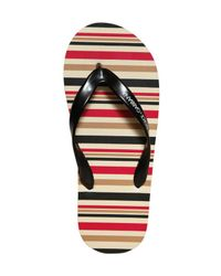 Dolce & Gabbana | Black Nylon Striped Thong Flip Flops for Men | Lyst