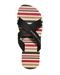 Dolce & Gabbana | Black Pvc Striped Criss Cross Flip Flops for Men | Lyst