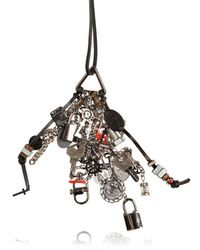 DSquared² | Black Lock and Key Charms Leather Necklace for Men | Lyst