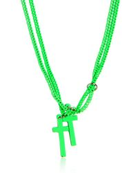 DSquared² | Green Double Cross Varnished Brass Necklace for Men | Lyst