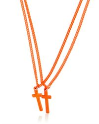 DSquared² - Orange Double Cross Varnished Brass Necklace for Men - Lyst