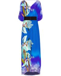 Matthew Williamson | Blue Belted Kimono-style Printed Silk Gown | Lyst