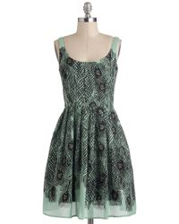 ModCloth | Green Delightful As A Feather Dress | Lyst